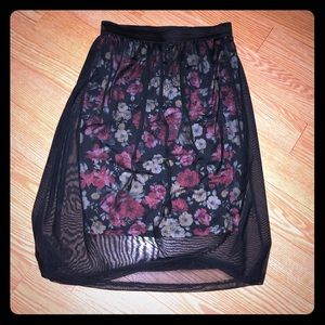 Potter's put floral skirt with black sheer overlay